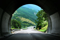 Tunnel landscape. Majestic view from tunnel. Italy. Cortina D'Ampezzo Stock Photography
