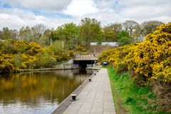 A tunnel leading from Union canal to Falkirk wheel boat lift. In central Scotland royalty free stock photos