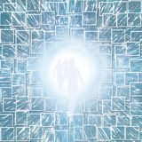 Tunnel of Light. With figure. 3D rendering Royalty Free Stock Image