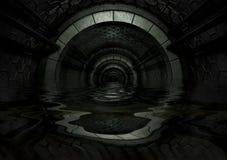 tunnel liquide futuriste rempli foncé Photo stock