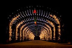 A tunnel of little lights royalty free stock images