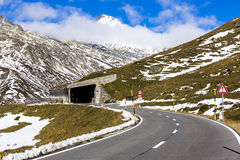 Tunnel at the Lukmanier pass in Switzerland Stock Images