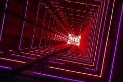Tunnel luminoso rosso dell'ascensore immagini stock