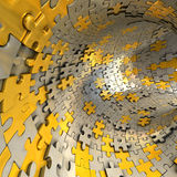Tunnel made of gold and silver puzzles.  Conceptual 3d illustration, Royalty Free Stock Images