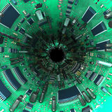 Tunnel made  of mainboards and electrical parts. 3d illustration Stock Images