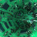 Tunnel made  of mainboards and electrical parts. 3d illustration. High technology tunnel made of mainboards and electrical parts. 3d illustration Stock Photography