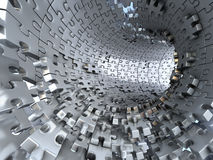 Tunnel made of metallic puzzles.  Conceptual  illustration,. Tunnel made of silver or metallic puzzles.  Conceptual 3d illustration Stock Images