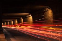 Tunnel med rörande ljus royaltyfri bild