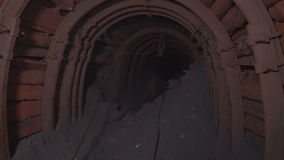 Tunnel mines ore. Underground mine iron ore and coal stock footage