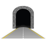 Tunnel mit Straßenillustration zwei Stockbild