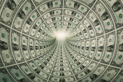 Tunnel of money, dollars towards light Royalty Free Stock Photography