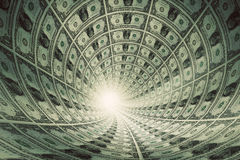 Tunnel of money, dollars towards light Stock Photography