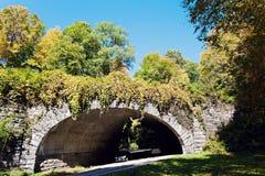 Tunnel in montagne fumose fotografie stock
