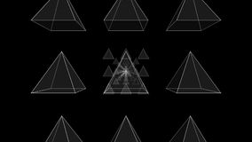 Tunnel Motion Effects with Transparent Pyramids. An abstract 3d illustration of tunnel motion effects produced with nine white neon pyramids There is an illusion Royalty Free Stock Images