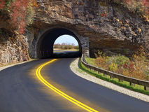 Tunnel through mountain. Scenic drive on the Blue Ridge Parkway through a tunnel at Craggy Gardens, NC stock image