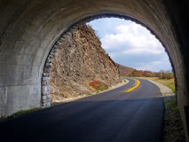Tunnel through mountain. Scenic drive on the Blue Ridge Parkway through a tunnel at Craggy Gardens, NC royalty free stock photography