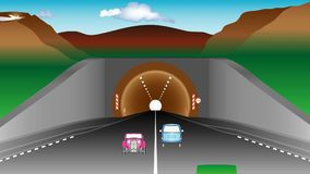 Tunnel in mountains. Highway and cars before an tunnel. Two lanes road and various vehicles, mountains and tunnel. Autobahn exit from underground mountain stock footage