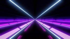 Tunnel multi de lumière de couleur avec les lumières et les réflexions pourpres illustration stock
