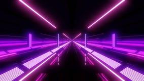 Tunnel multi de lumière de couleur avec les lumières et les réflexions pourpres illustration de vecteur