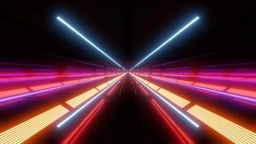 Tunnel multi de lumière de couleur avec les lumières et les réflexions rouges et bleues clips vidéos