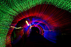 Tunnel of neon light in new year Royalty Free Stock Image