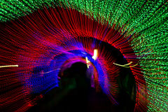 Tunnel of neon light in new year Stock Photography