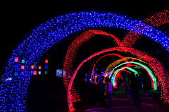Tunnel of neon light in new year Stock Image