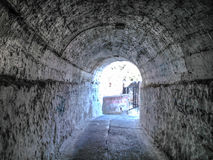 Tunnel in the New fortress of Corfu. The tunnel leads in the entrance of the fortress Stock Photos