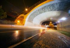 Tunnel at night. Night urban scene with tunnel Stock Photo