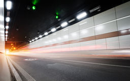 Tunnel. The tunnel at night, the lights formed a line royalty free stock images