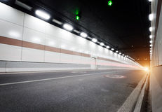 Tunnel. The tunnel at night, the lights formed a line Royalty Free Stock Image