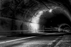 Tunnel at night with traces of light. Scary tunnel at night with traces of light Royalty Free Stock Image