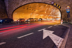 Tunnel Night Trafic in City of Warsaw Stock Image