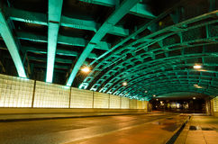 The tunnel at night. With an unusual illumination Royalty Free Stock Image