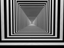 Tunnel noir et blanc de rayures Photo libre de droits
