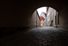 Tunnel old town cobble Royalty Free Stock Image