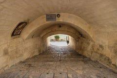 Tunnel onder straat in Matera, Italië Royalty-vrije Stock Afbeelding
