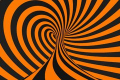 Tunnel optical 3D illusion raster illustration. Contrast lines background. Hypnotic stripes ornament. Psychedelic, abstract art. Tunnel optical 3D illusion stock illustration