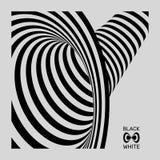 Tunnel Optische illusie Zwart-witte abstracte gestreepte achtergrond 3d vectorillustratie stock illustratie