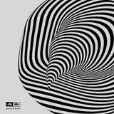 Tunnel Optische illusie Zwart-witte abstracte gestreepte achtergrond 3d vectorillustratie royalty-vrije illustratie