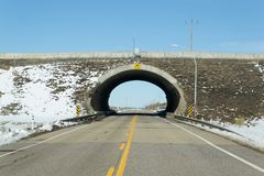 Tunnel over a two lane tunnel Royalty Free Stock Photography