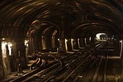Tunnel of the Parisian Metro Stock Photo