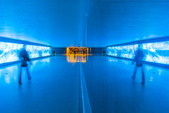 Tunnel with pedestrians in motion Royalty Free Stock Images