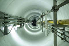 Tunnel. For piping  to connect system between 2 factory Royalty Free Stock Images