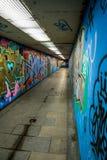 Tunnel piétonnier avec le grafitis Image stock