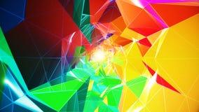 Tunnel polygonal coloré banque de vidéos