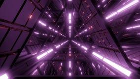 Tunnel pourpre de l'espace de triangle avec des r?flexions gentilles illustration de vecteur
