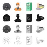 Tunnel, rails, lighting, and other web icon in cartoon style.Shoes, places, stop, icons in set collection. Royalty Free Stock Image