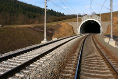 Tunnel and railway. Construction railway's corridor in Czech republic Stock Photography