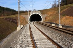 Tunnel and railway. Construction railway's corridor in Czech republic Royalty Free Stock Images